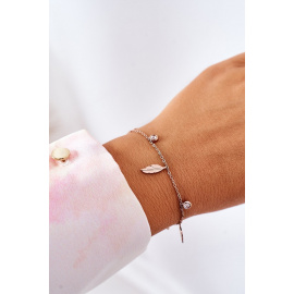 Bracelet With Feathers And Cubic Zirconia Rose Gold