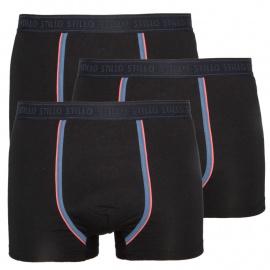 3PACK férfi boxer Stillo fekete, szürke csíkkal (STP-0161616)