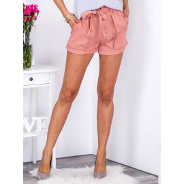Légies rózsaszín rövidnadrág dekoratív kötéssel