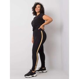 Czarno-złote legginsy plus size