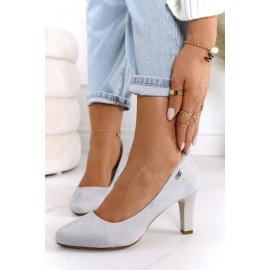 Classic Women's Pumps On A Block Heel Suede Grey Eleanor